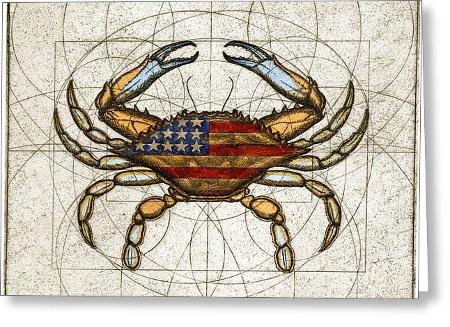 Fourth Of July Crab Greeting Card