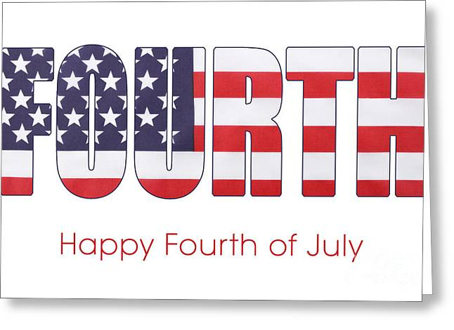 Fourth Of July Flag Letters Outline Greeting Card