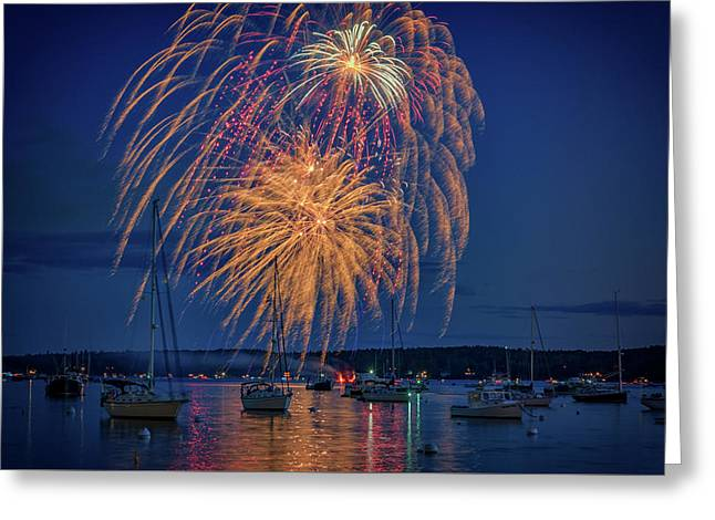 Greeting Card featuring the photograph Fourth Of July In Boothbay Harbor by Rick Berk