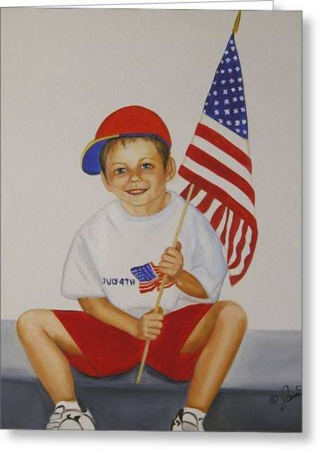 Boy Greeting Cards - Fourth of July Greeting Card by Joni McPherson