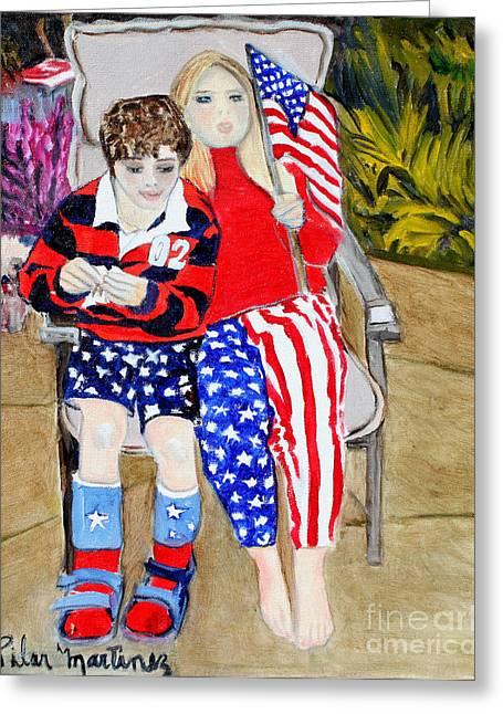 Fourth Of July Greeting Card by Pilar  Martinez-Byrne