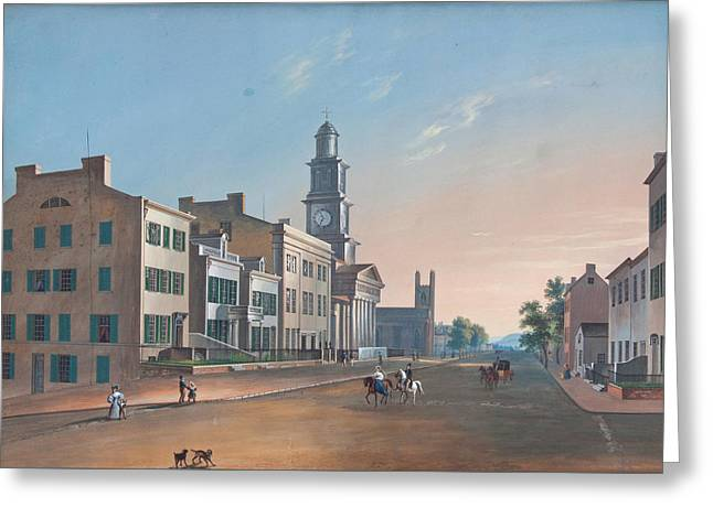 Greeting Card featuring the painting Fourth Street. West From Vine by John Caspar Wild