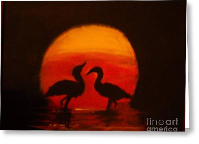 Fowl Love Silhouette Greeting Card by Leslie Revels