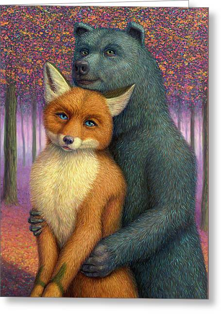 Fox And Bear Couple Greeting Card