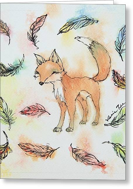 Fox And Feathers Greeting Card