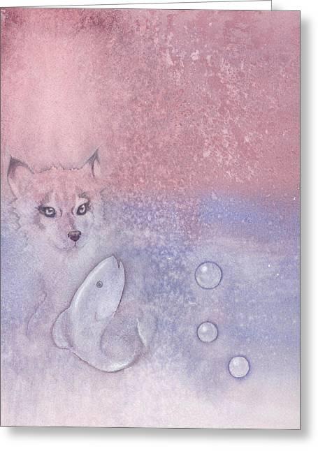 Fox And Fish Greeting Card