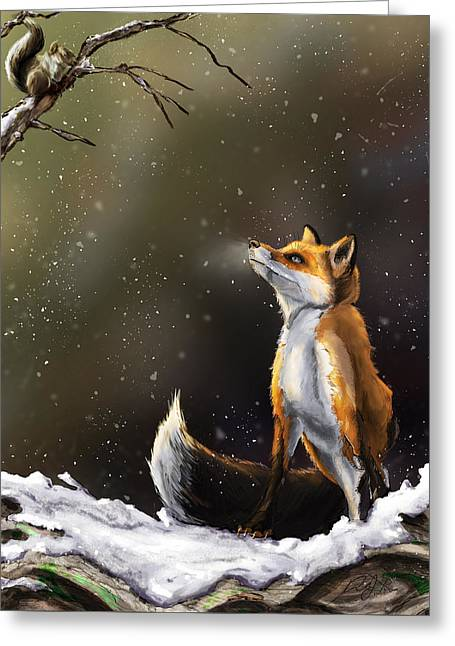 Fox And Friend Greeting Card