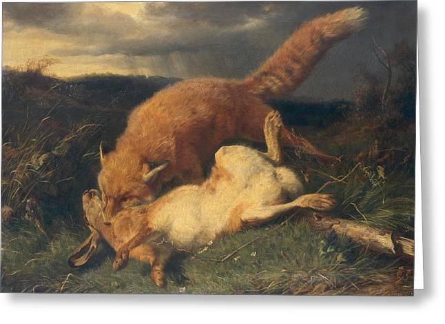 Fox And Hare Greeting Card by Johann Baptist Hofner