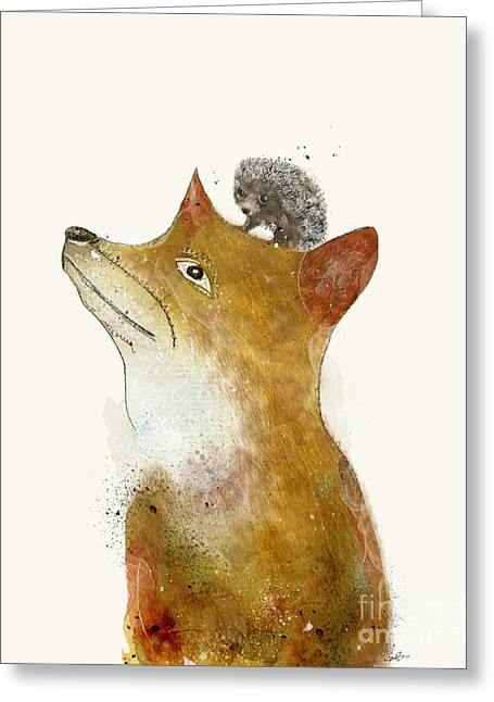 Greeting Card featuring the painting Fox And Hedgehog by Bri B