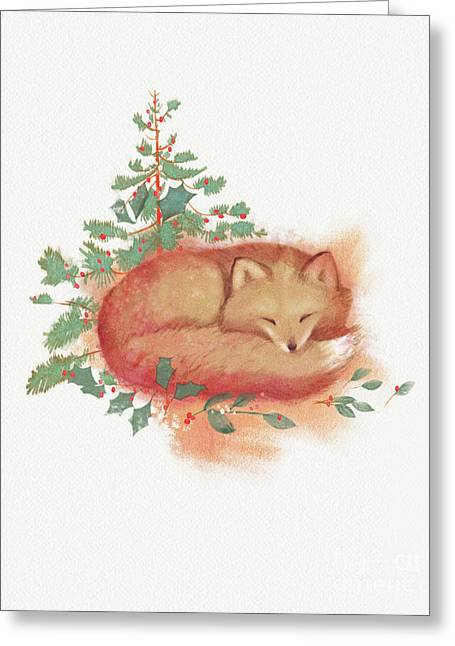 Fox And Holly Greeting Card by Tracy Herrmann