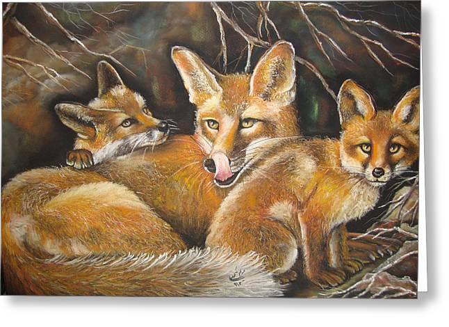 Fox And Kits Greeting Card