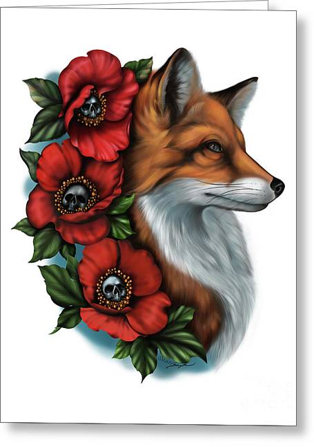 Fox And Poppies Greeting Card
