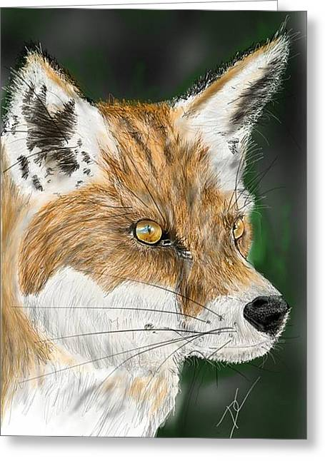 Greeting Card featuring the digital art Fox by Darren Cannell