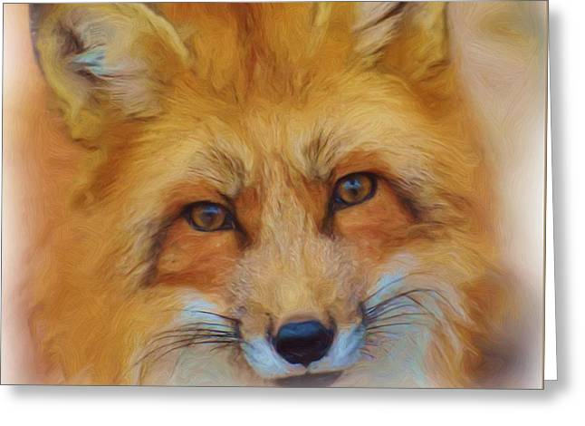 Fox Face Taken From Watercolour Painting Greeting Card
