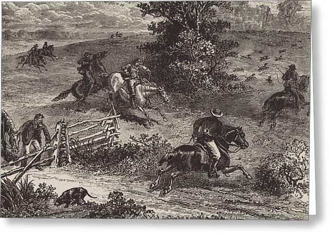 Fox Hunting In Virginia Greeting Card by George Augustus Sala
