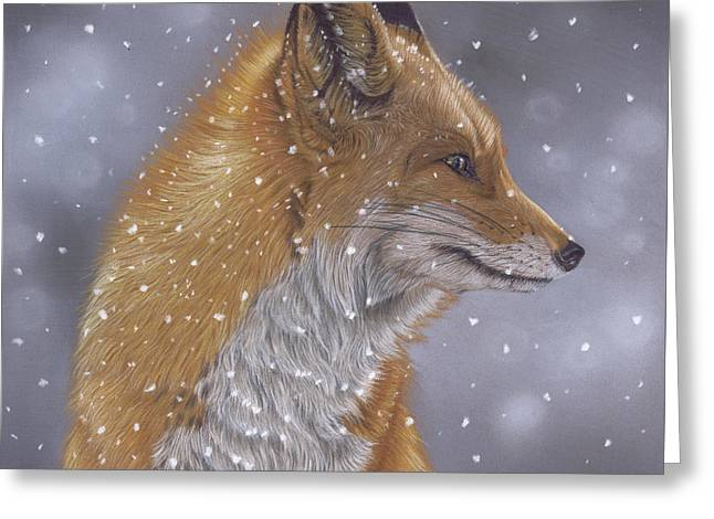 Fox In A Flurry Greeting Card