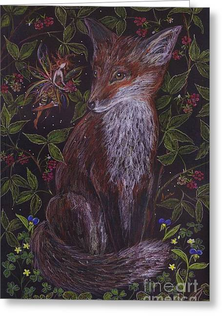 Fox In The Raspberries Greeting Card by Dawn Fairies