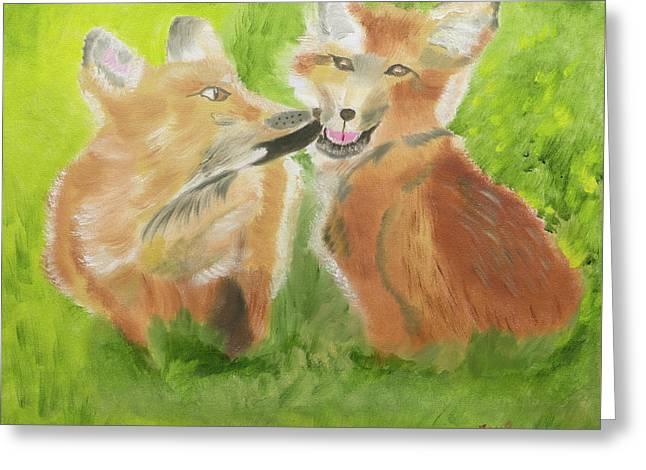 Red Fox Kit Kisses Greeting Card