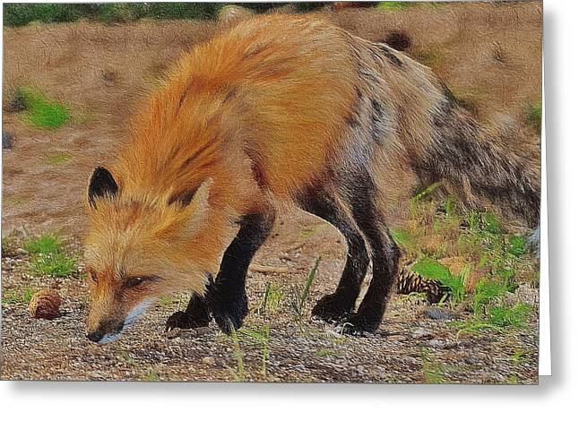 Fox Painted Impasto Style Greeting Card by Ericamaxine Price