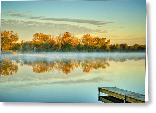 Fox River Above Mchenry Dam At Sunrise Greeting Card