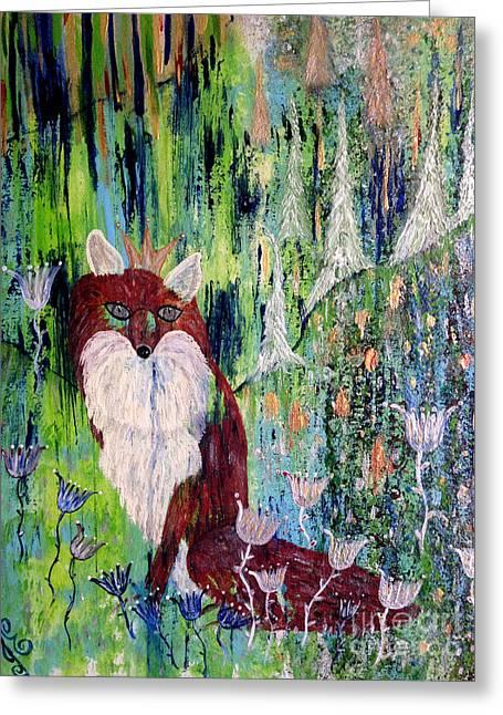 Greeting Card featuring the painting Fox Tale by Julie Engelhardt