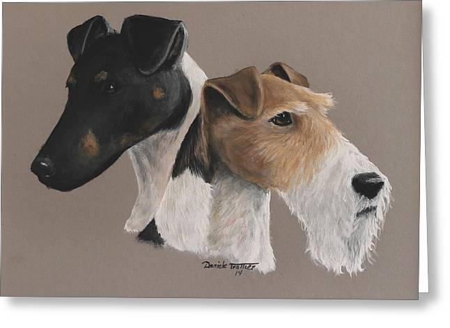 Fox Terrier Greeting Card by Daniele Trottier