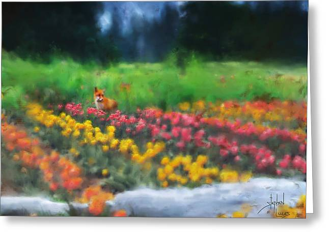 Fox Watching The Tulips Greeting Card by Stephen Lucas