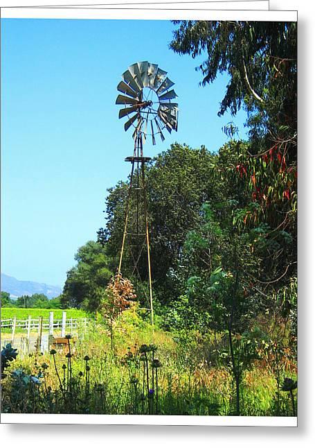 Foxen Adobe Windmill Greeting Card by Deborah Hildinger