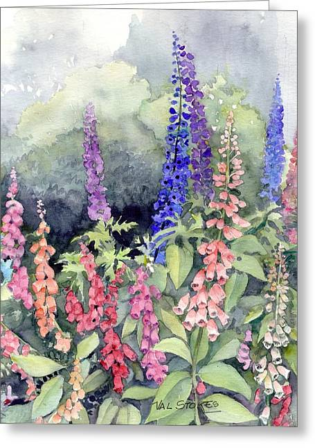 Foxgloves Greeting Card by Val Stokes