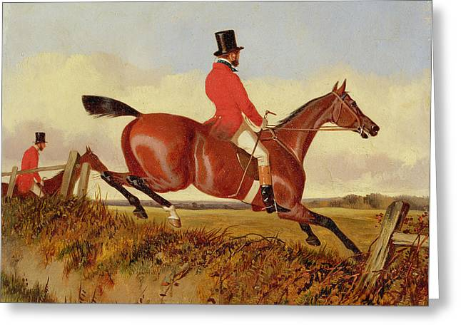 Hunting Greeting Cards - Foxhunting - Clearing a Bank Greeting Card by John Dalby