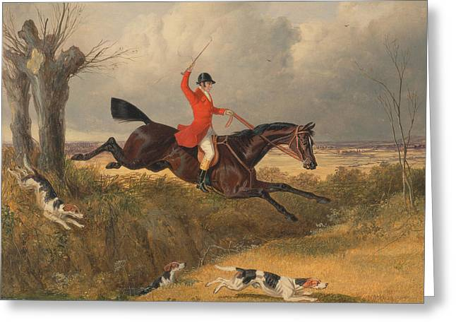 Foxhunting Clearing A Ditch Greeting Card by John Frederick Herring