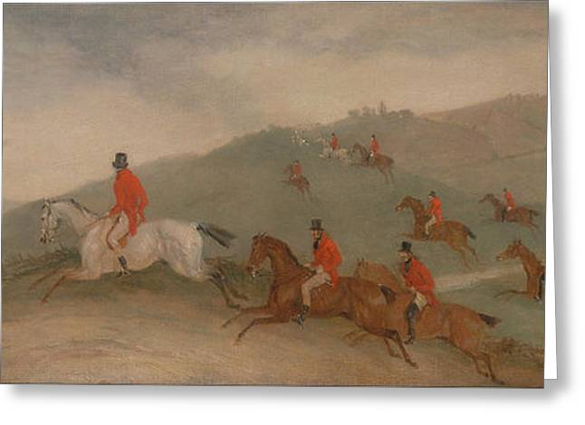 Foxhunting - Road Riders Or Funkers Greeting Card by Celestial Images