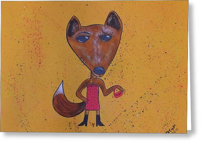 Greeting Card featuring the painting Foxxxy by Tatum Chestnut