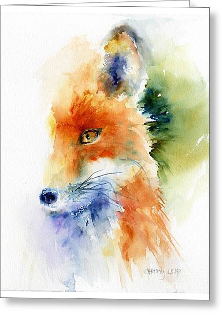 Foxy Impression Greeting Card by Christy Lemp