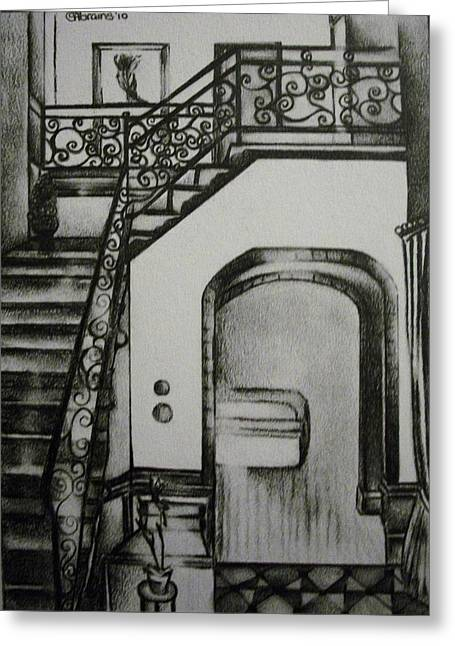 Foyer Architectural Rendering Greeting Card by Stacey Abrams