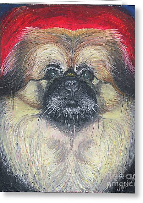 Greeting Card featuring the pastel Fozy Bear Pekingese by Ania M Milo