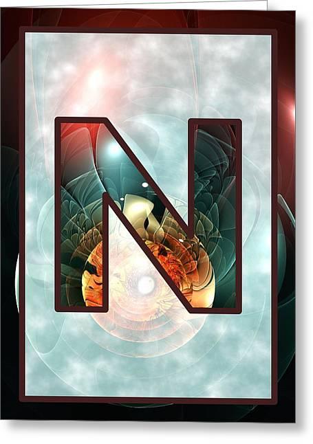 Fractal - Alphabet - N Is For Night Vision Greeting Card by Anastasiya Malakhova
