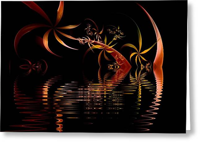 Fractal Fireworks Reflections Greeting Card