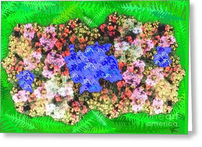 Fractal Flower Garden Greeting Card by Diamante Lavendar