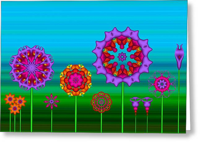 Whimsical Fractal Flower Garden Greeting Card