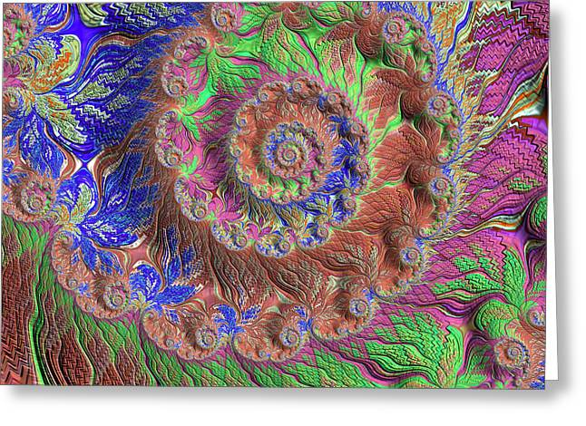 Greeting Card featuring the digital art Fractal Garden by Bonnie Bruno