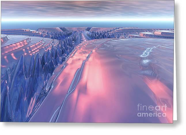 Fractal Glacier Landscape Greeting Card