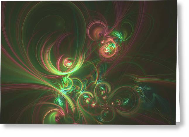 Fractal In The Form Of Bright Curls Greeting Card