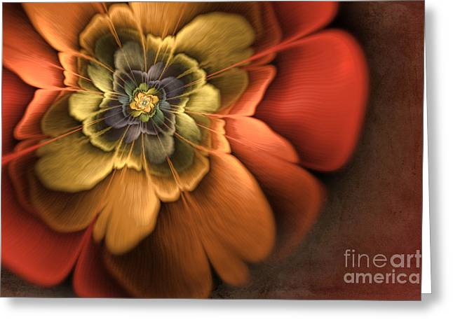 Mysterious Digital Greeting Cards - Fractal Pansy Greeting Card by John Edwards