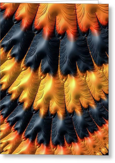 Greeting Card featuring the digital art Fractal Pattern Orange And Black by Matthias Hauser