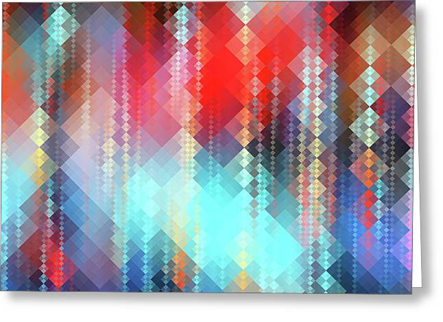 Fractal Pixels Greeting Card by Tenyo Marchev