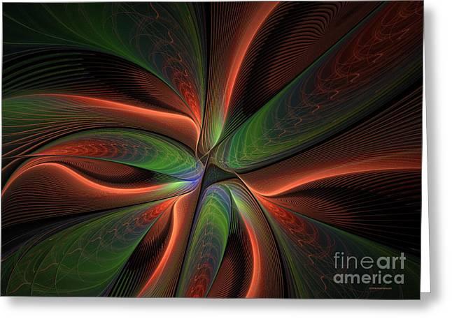 Fractal Warp Mode Greeting Card by Deborah Benoit