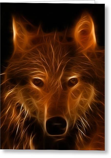 Fractal Wolf Greeting Card