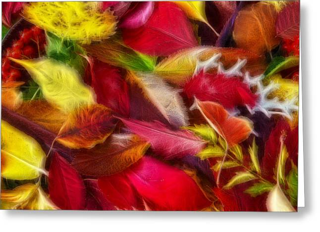 Fractalius Leaves Greeting Card by Shane Bechler