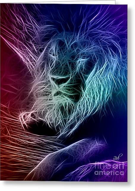 Fractalius Lion Greeting Card by Zedi